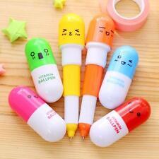 6pcs Cute Pill Ball Point Pen Telescopic Vitamin Capsule Ballpen Stationery GA