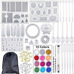 83Pcs DIY Epoxy Resin Casting Molds Kit Silicone Mould Jewelry Pendant Silicone