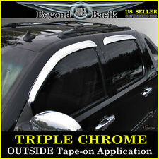 2007-2014 GMC YUKON XL 4pc Chrome Door Visors Window Side Rain Guards