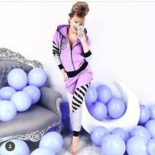 Tracksuit Sexy Ladies 2-Piece Jogging Leisure Suit Purple Pink Stripes Hoodie