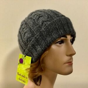 HAND KNITTED MENS SIZE L DARK GREY CABLED  WOOL - ALPACA SKULL FIT/SLOUCHY HAT