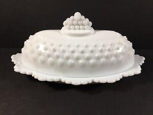 Fenton White Milk Glass Hobnail Oval Covered Butter Dish Scalloped Edge