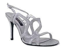 Nina Women's Unilora-YG Slingback Sandals Silver Baby Glitter Size 9 M