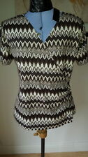 Waist Length Geometric Polyester T-Shirts for Women