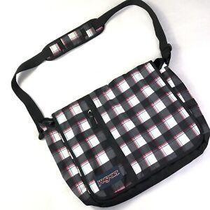 Jansport Messenger Crossbody Book Laptop Bag Tote Black Red Green White Plaid
