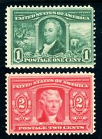 USAstamps Unused FVF US 1904 Louisiana Purchase Scott 323, 324 OG MNH