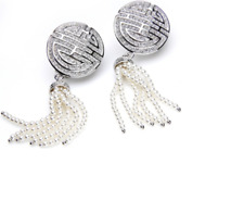 Clip on Earrings made with  Swarovski crystals & Dangling Cultured Pearls