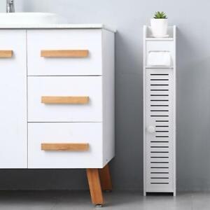 White Waterproof Bathroom Cabinet Paper Towel TallBoy Cupboard Narrow Cabinet