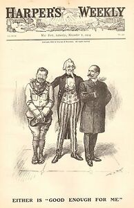 Political Cartoon, Roosevelt, Uncle Sam, Either One Is Good Enough For Me, 1904