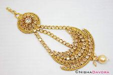 Gold Stones Jhoomar Tikka Passa Hair Head Jewellery