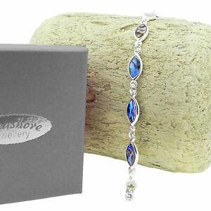"""Paua Abalone Shell Bracelet Oval Link Womens Silver Fashion Jewellery 7.5"""" 19cm"""