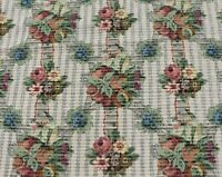 "French Antique Cotton Jacquard  Tapestry Fabric ~Fruit, Floral,Birds~26""X24"""