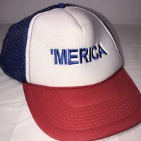 Merica Trucker Hat Mesh Snapback Red White And Blue Otto Brand