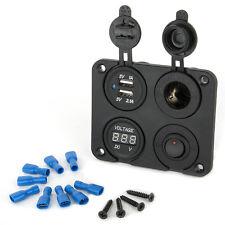 12V Car Cigarette Lighter Plug Socket+Dual USB Charger+Voltmeter + Rocker Switch