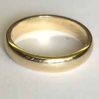 Vintage Solid 9ct Gold Hallmarked Wedding Band Size L1/2 Plain