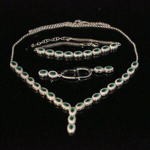 Turkish Handmade Sterling Silver 925 Emerald Necklace Bracelet Earring Set
