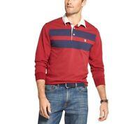 Men's IZOD Sportswear Striped Rugby Polo, Large, Biking Red