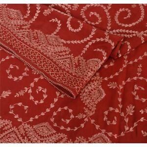 Sanskriti Vintage Crepe Silk Ari Work Hand Embroidered Design Fabric Decor Craft