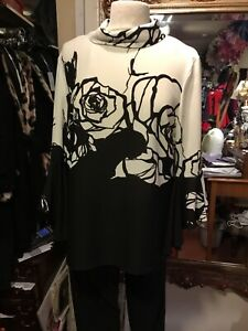 Ladies Black And White Frank Lyman Blouse Top Style 183788 Size 12