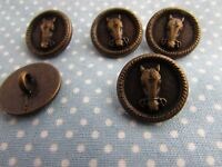 18mm Metal Horses Head Button in Antique Brass Colour Shank Packs of 1, 5 or 10