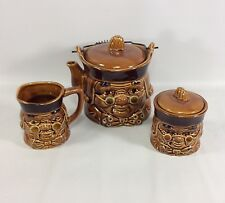Tea Pot Cream and Sugar Set Japan Toby Ben Franklin Wire Handle VTG