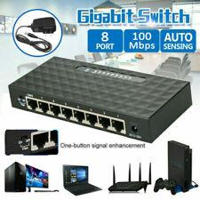 8-Ports 10/100 Mbps Gigabit Ethernet Desktop Switch Network Lan Hub with US Plug