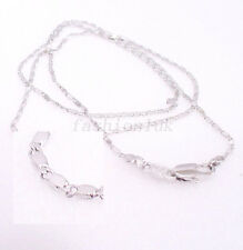White Gold Plated Men Women Xmas Birthday Small Classic Chain Necklace Part 45cm