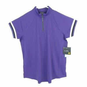 Belyn Key Womens Shirt Top Purple Short Sleeve Mock Neck Cooling Stretch S New