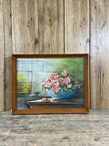 Vintage Oil On Canvas Still Life Pink Floral Painting.