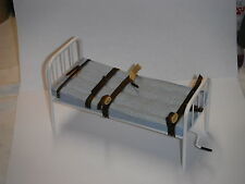 Doll miniature handcrafted Asylum Leather straps Hospital bed Medical 1/12th
