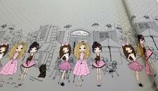 Stoff Jersey Bedruckt Bordüre Panel rosa Pink grau Stadt Mädchen Mode 20€/m