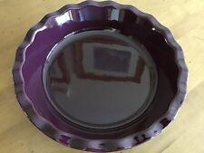 "EMILE HENRY 10"" Ceramic Ruffled Deep Pie Dish Fig Purple Eggplant France Exc"