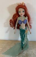 "Disney Little Mermaid Ariel Porcelain Doll with Brass Key Mesh Top Beads EUC 14"""