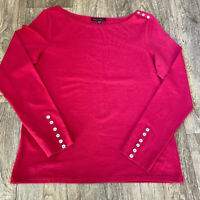 Laura Ashley Cotton Red Long Sleeve Tee Button Cuff Detail Uk 14