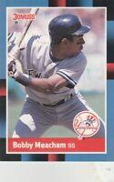 FREE SHIPPING-MINT-1988 Donruss New York Yankees Baseball Crd #616 Bobby Meacham