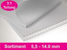 100 RENZ Drahtbinderücken 3:1, SET 5.5 - 14.3mm, weiß, Drahtkammelemente DIN A4