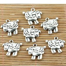 14pcs Tibetan silver tone 2sided little sheep charms EF1341