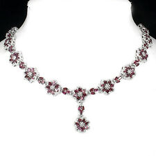 Sterling Silver 925 Genuine Natural Raspberry Pink Rhodolite Necklace 20 Inch