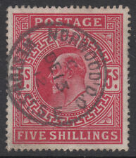 SG 318 5/- Carmine Red F M52 (-) very scarce Hendon listed fluorescent shade !