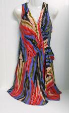 New w/o Tags~Nanette Lepore~USA~Sz 4~100% SILK Multi Color Svless Dress w/Peplum