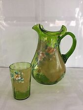 VINTAGE ART GLASS GREEN FLORAL PITCHER AND TUMBLER SET