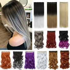 100% Natural Wavy Long Clip in Hair Extension As Human Blonde Straight Hairpiece
