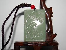 "2.3"" China Certified Nature Hetian Nephrite Jade Aupicious Tiger Plate Pendants"