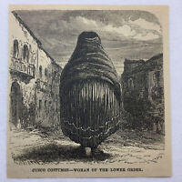 1877 magazine engraving - CUZCO COSTUMES ~ WOMAN OF LOWER CLASS ~ Cusco, Peru