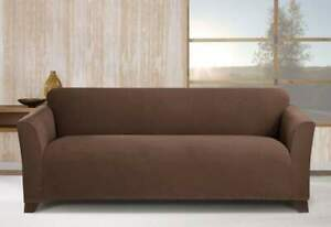 sure fit Stretch Morgan One Piece Sofa Slipcover Form Fit chocolate