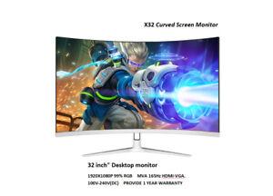 "32"" Curved 144Hz Gaming LED Monitor Edge-Less AMD FreeSync DisplayPort DP/HDMI"