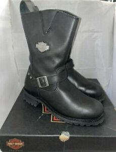 Mens Harley Davidson Bladen Riding Biker Leather Side-Zip Boots Size UK 10