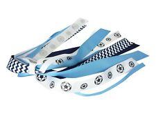 Blue & Navy Soccer Glitter Ribbon Bow - You Pick Colors - Ponytail Hair Streamer