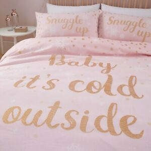Catherine Lansfield Christmas Baby It's Cold Outside Duvet Cover Set, Pink