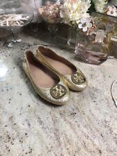TORY BURCH 'Minnie' Travel Ballet Flat Royal Mettalic Gold Logo Shoes Sz 8 M